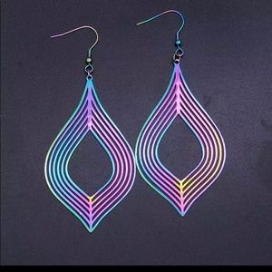 Dark Iridescent Drop Earrings